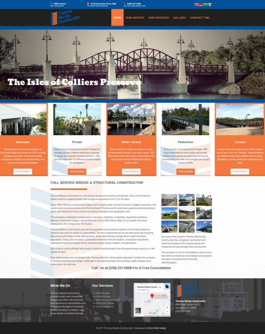Thomas Marine Construction Website