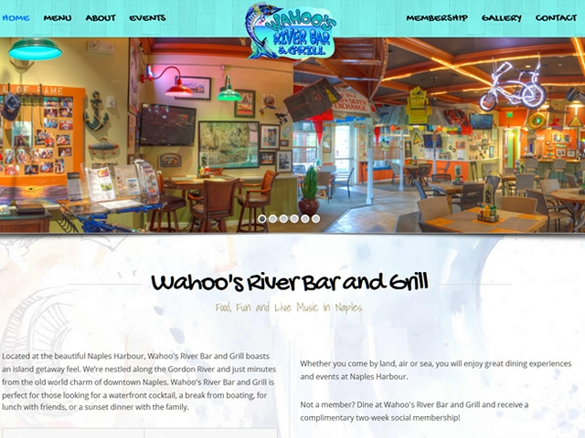 Wahoo's River Bar & Grill Website